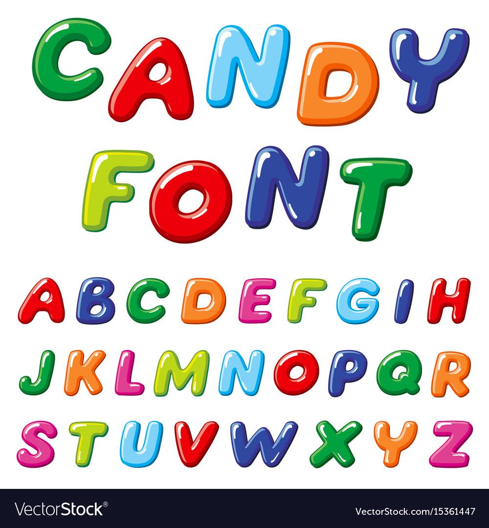 cartoon candy kids font rainbow funny royalty free vector
