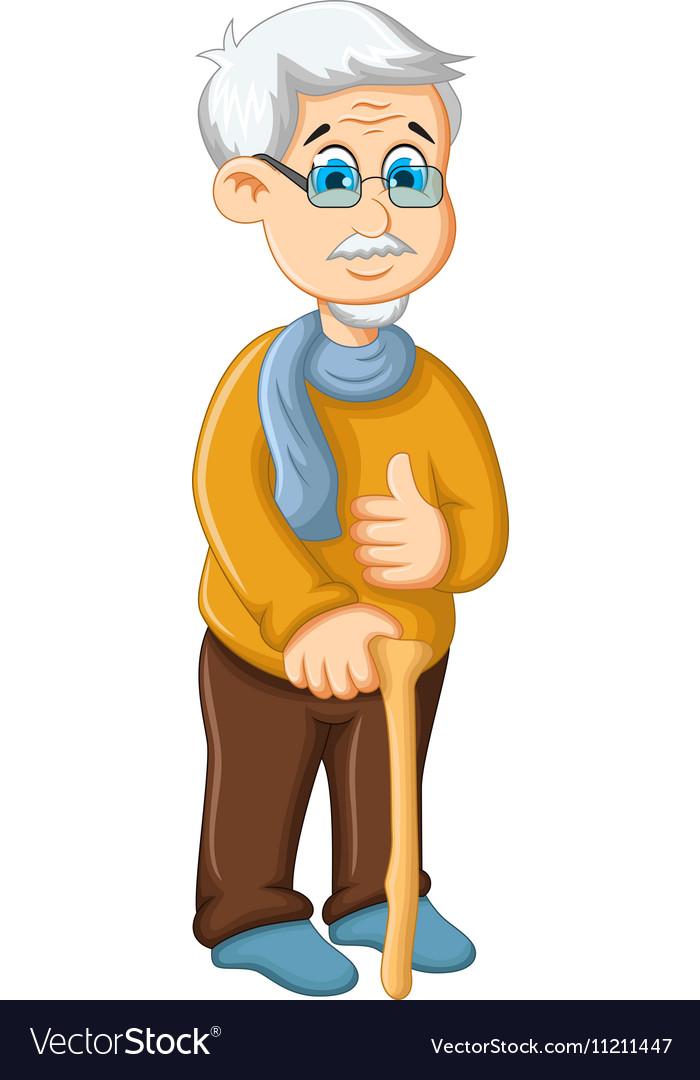 cute old man cartoon thumb up royalty free vector image rh vectorstock com old man cartoon pictures old man cartoon png