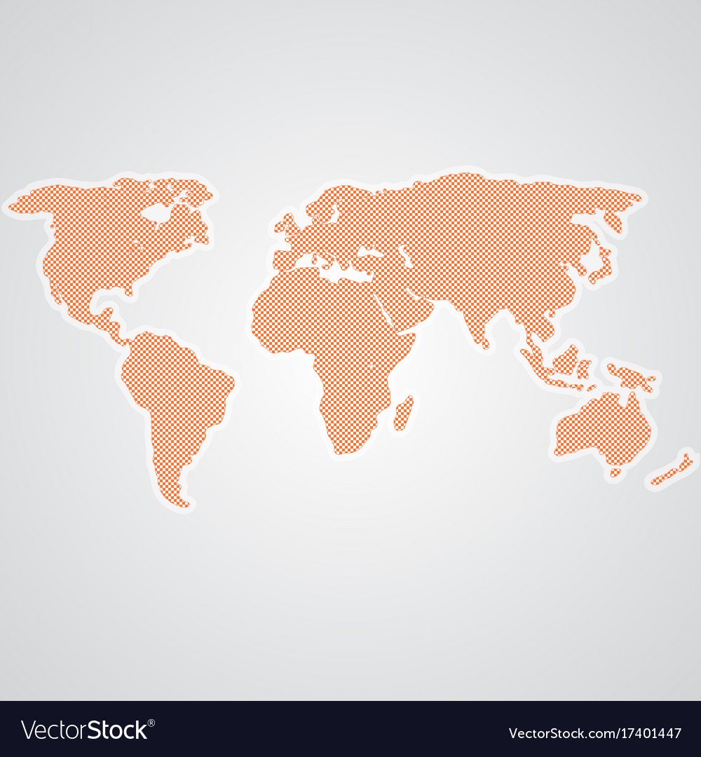 Dotted world map isolated on a background vector image