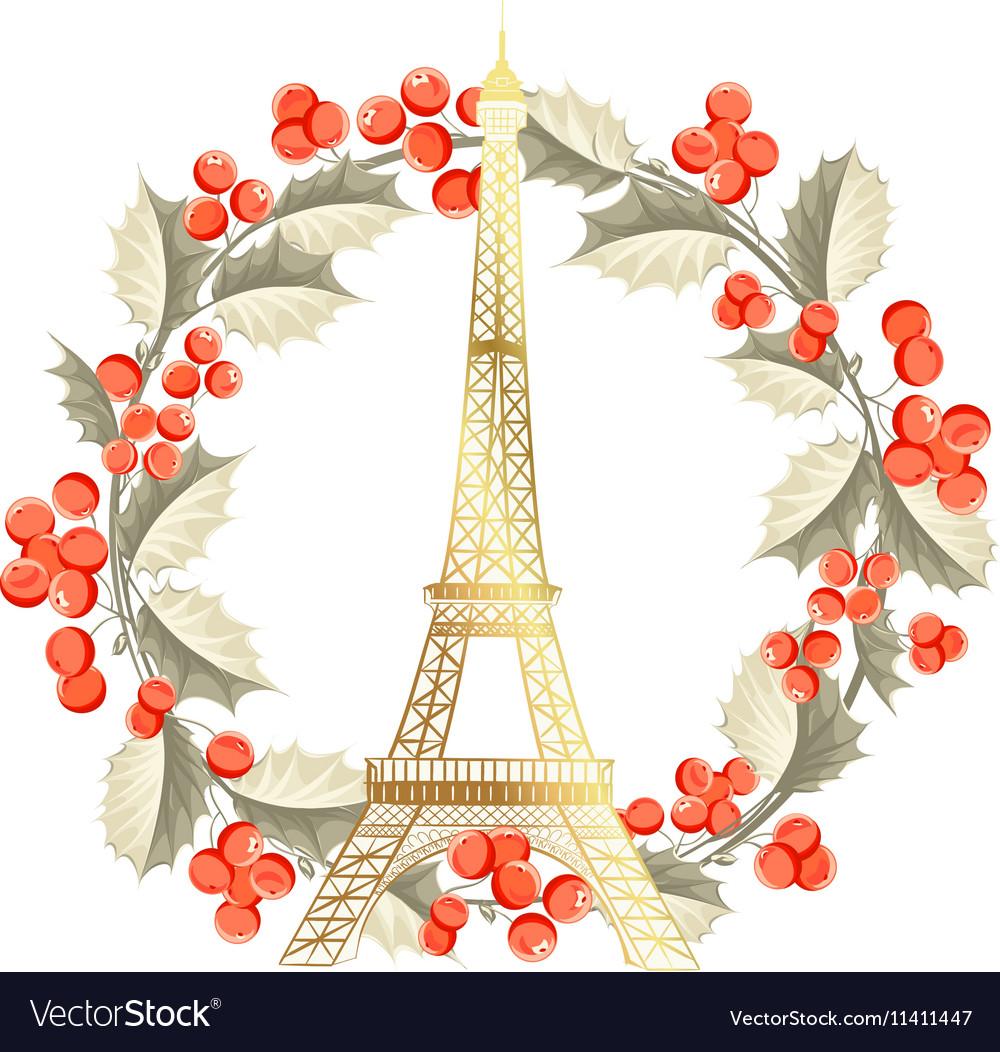 Eiffel Tower Christmas Card Royalty Free Vector Image