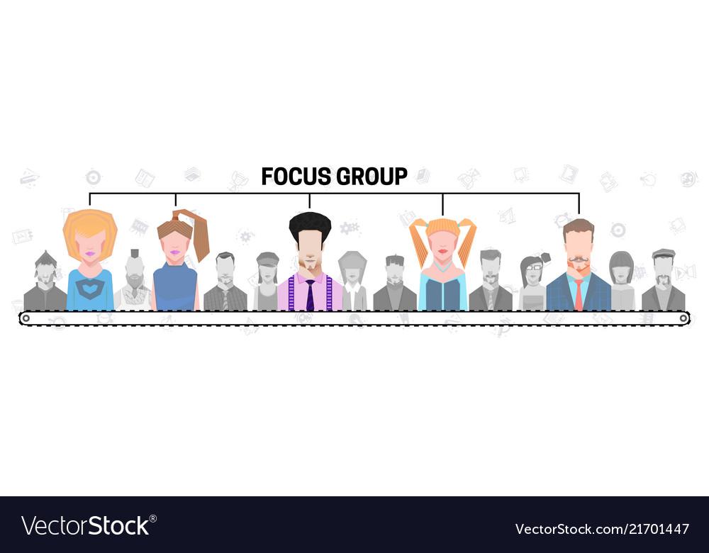 Flat people group inside magnifier diagram