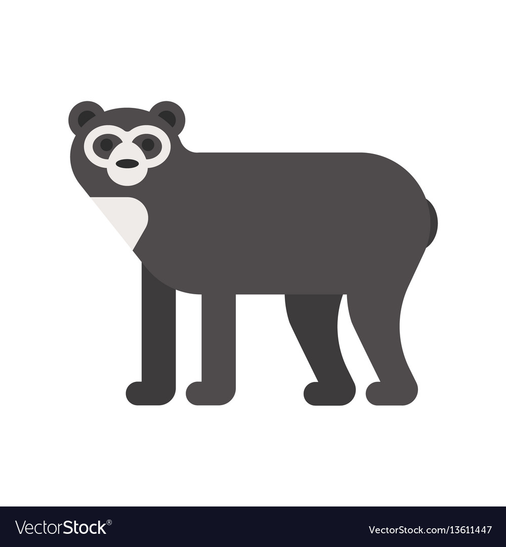Flat style of spectacled bear