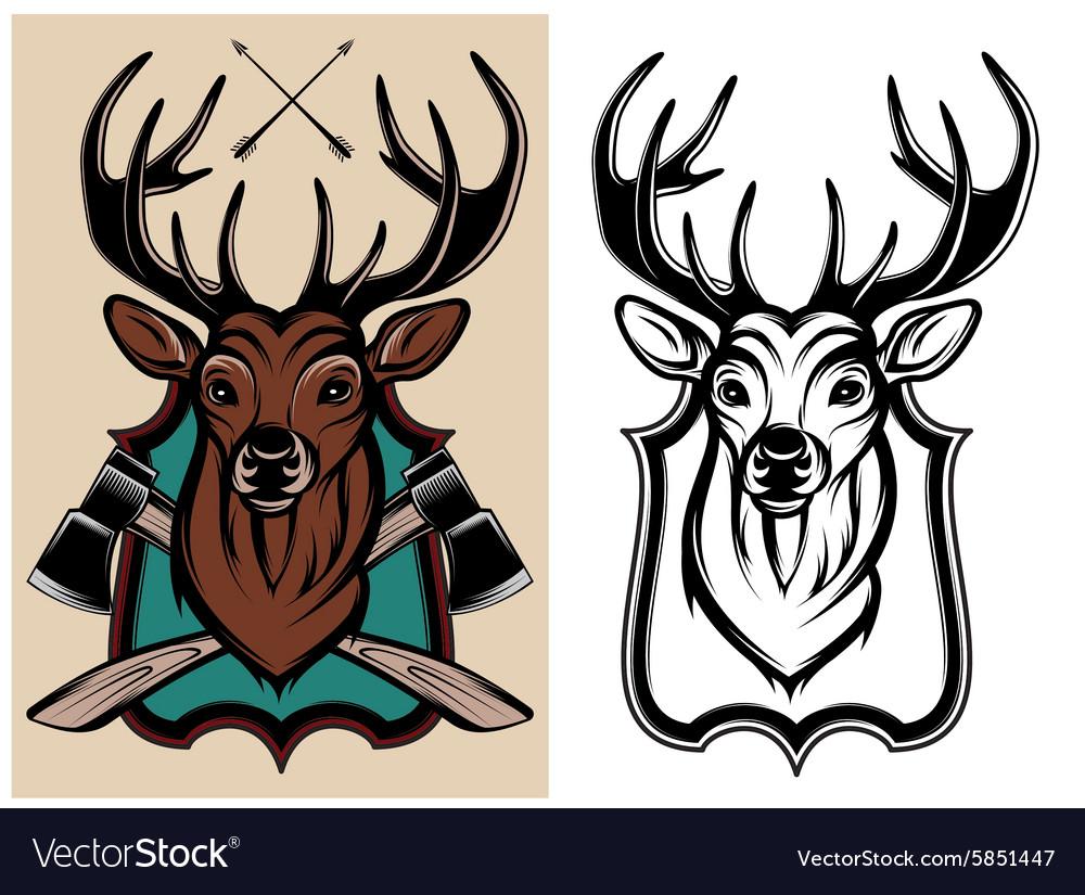 Heraldic animals deer color and monochrome