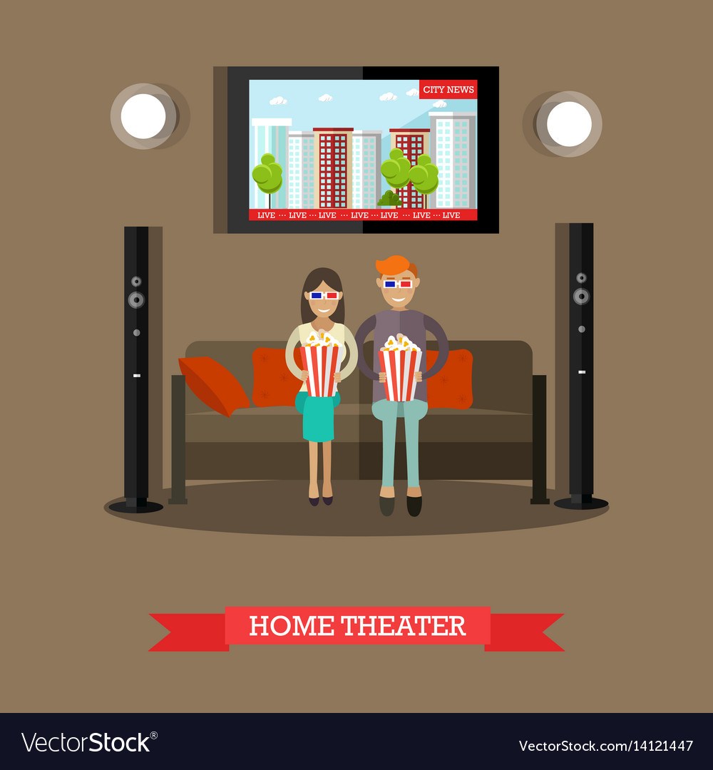 Home theater in flat style