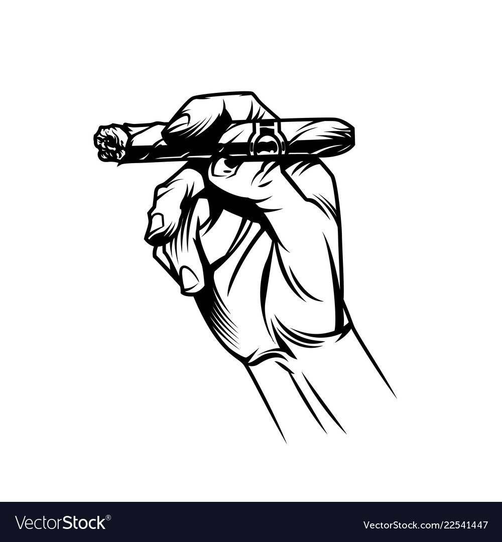 Male hand holding burning cuban cigar