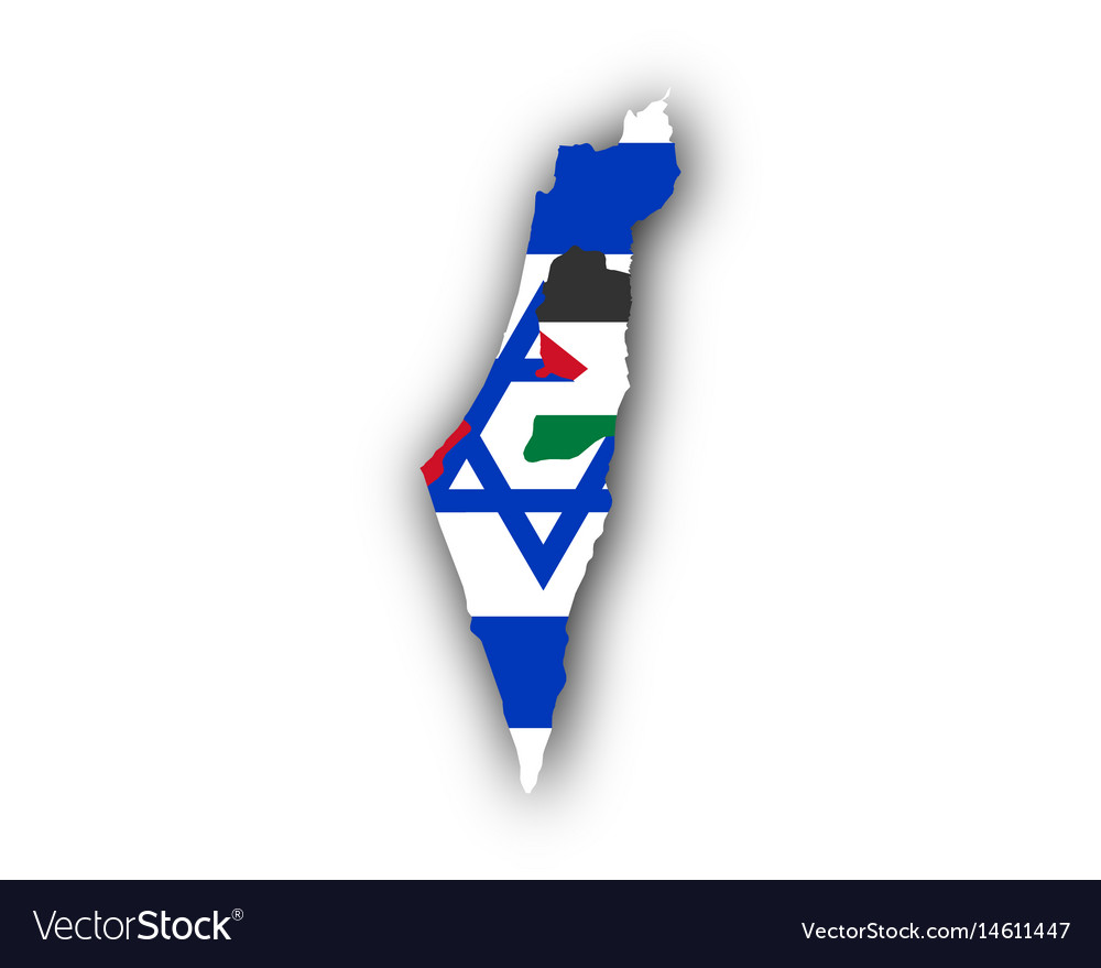 Map and flag of israel and palestine vector image