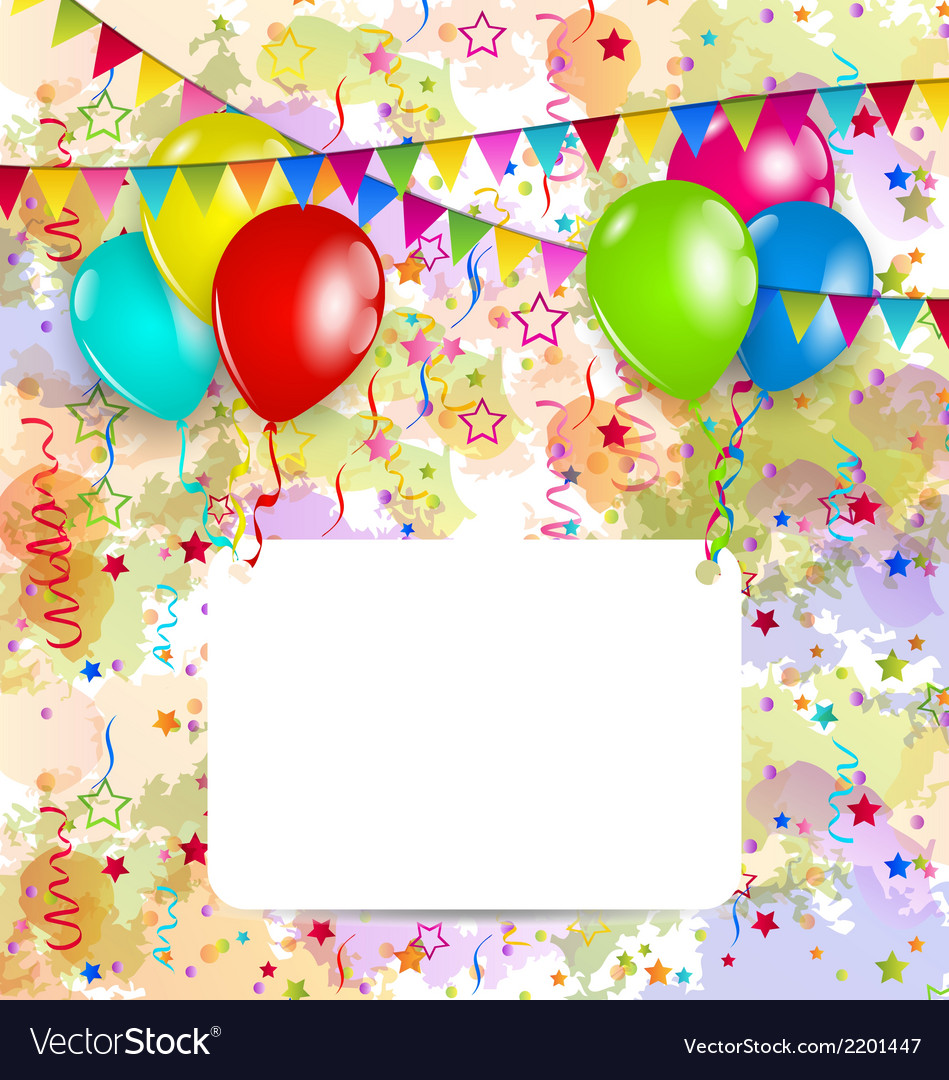 Modern birthday greeting card with balloons and