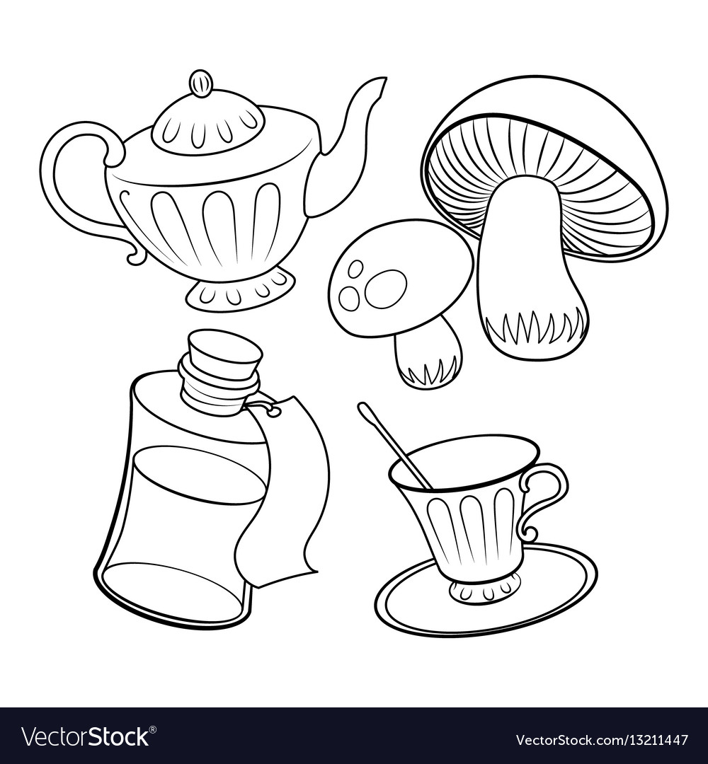 Objects From Fairy Tale Coloring Book Royalty Free Vector