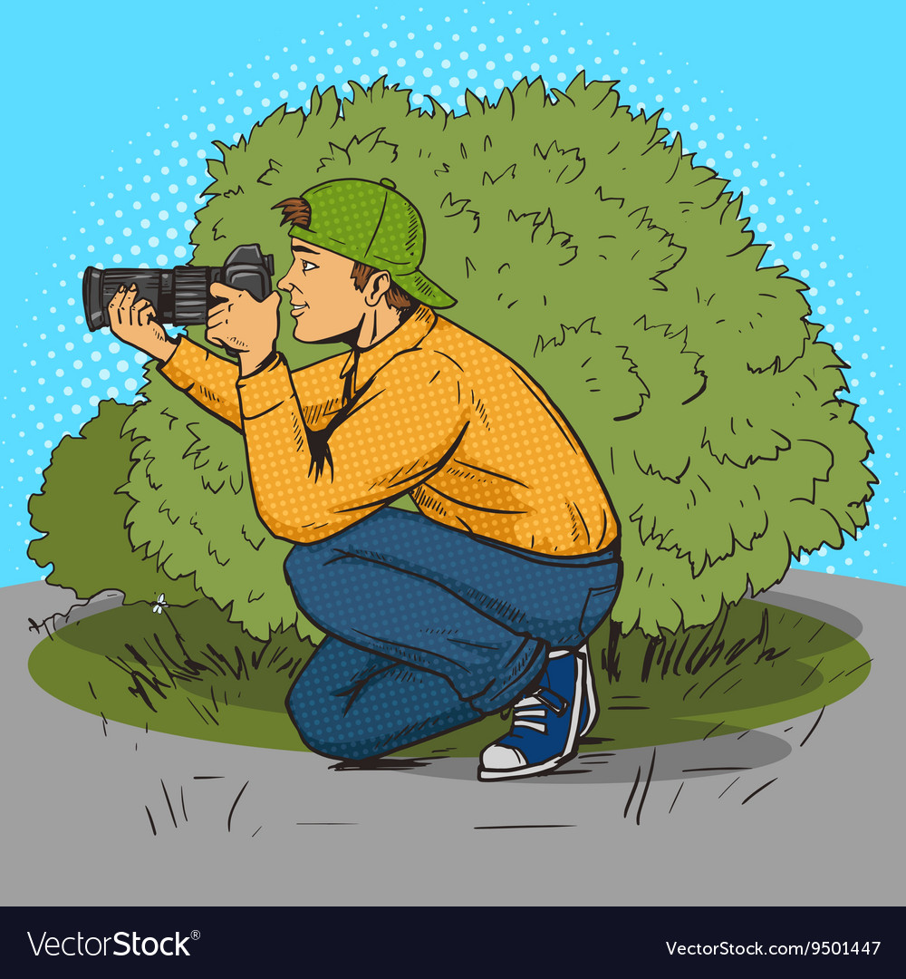 Paparazzi photographer pop art style vector image