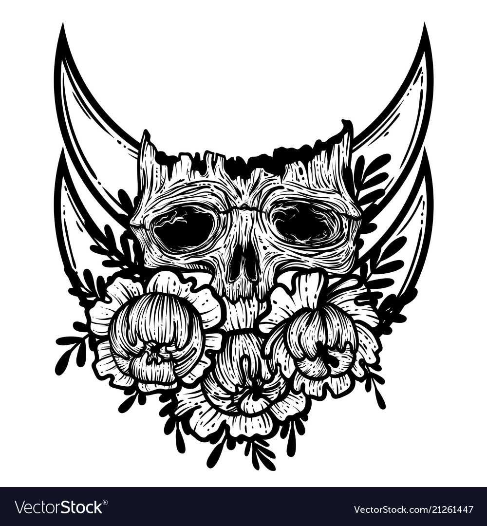 With a human skull and flowers