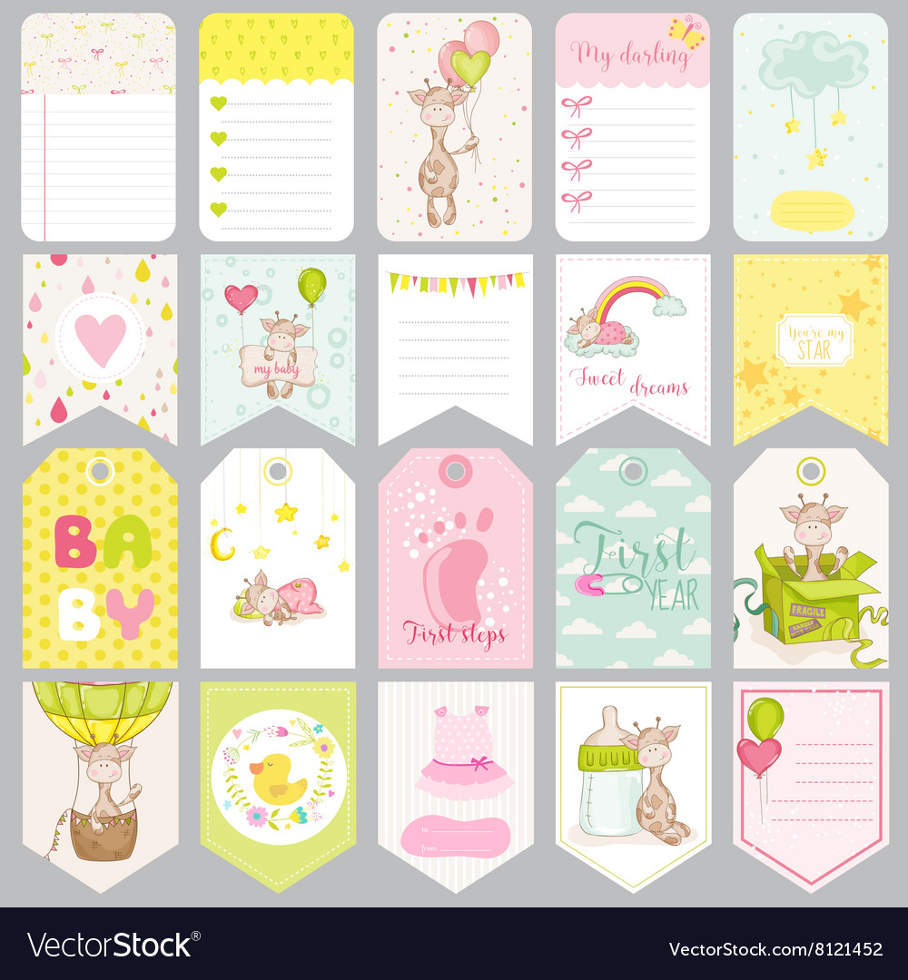 baby boy tags baby banners scrapbook labels vector image