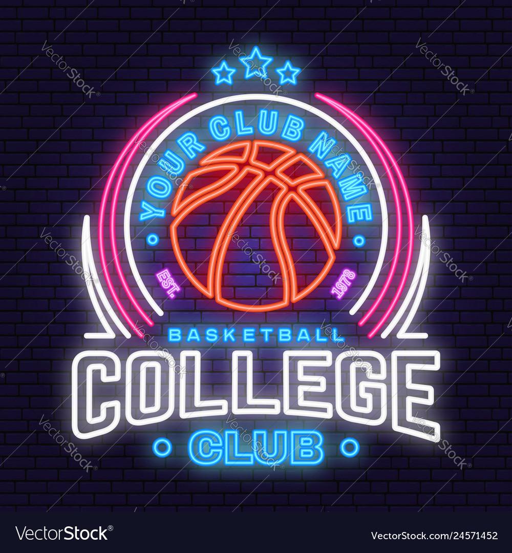 Basketball college club neon design or emblem