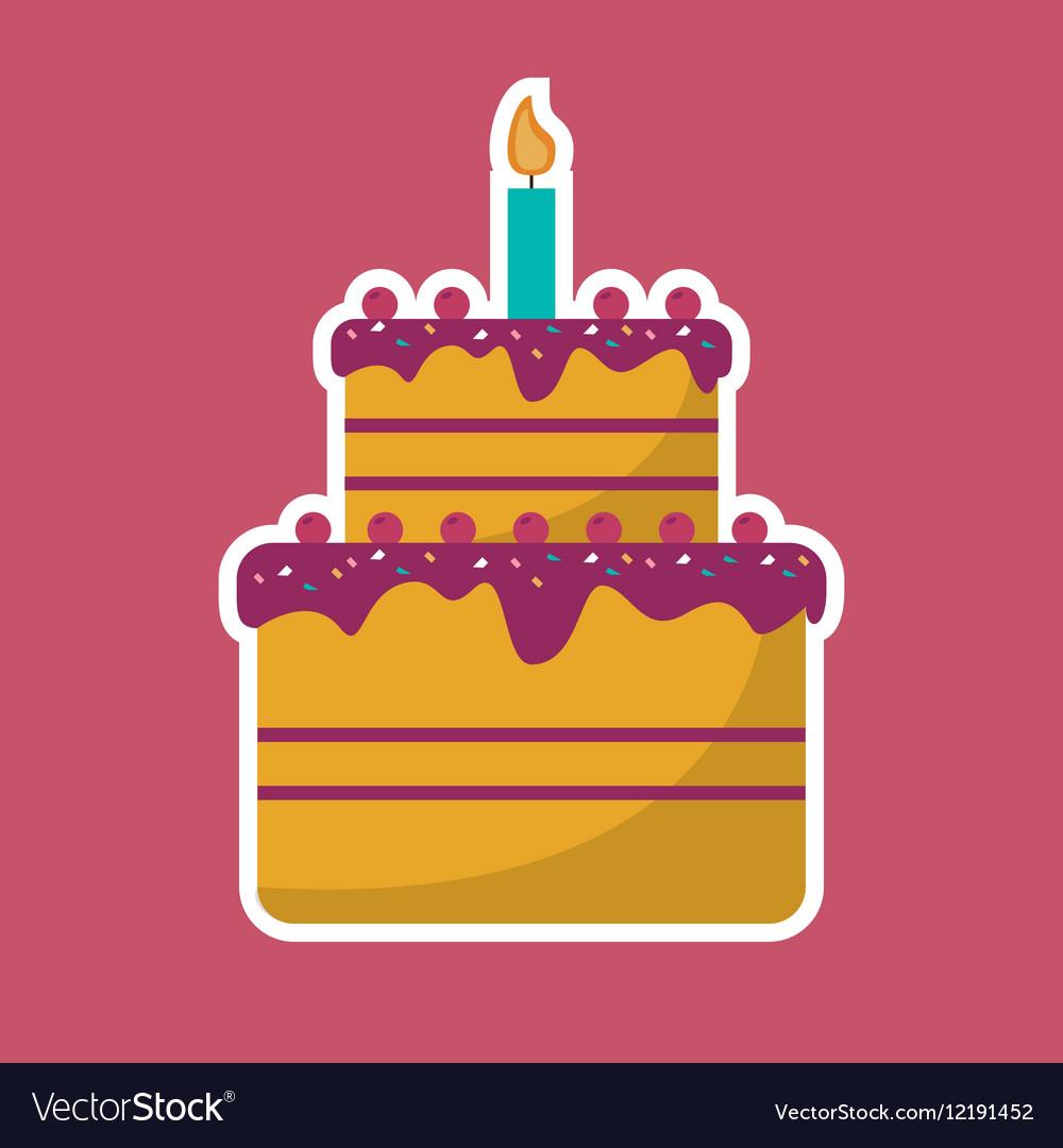 Cake cream cherry candle birthday pink background