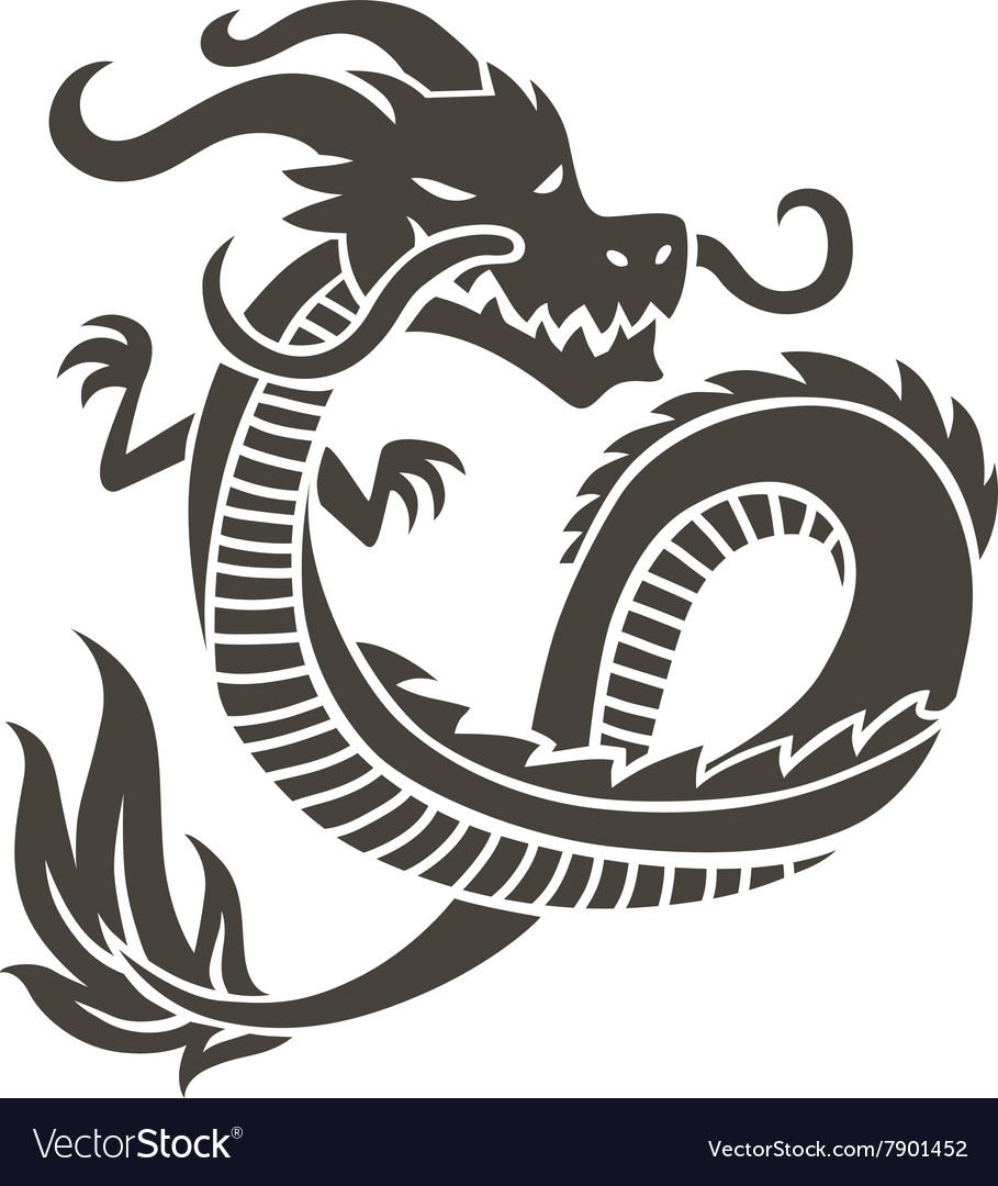 Chinese dragon on white background