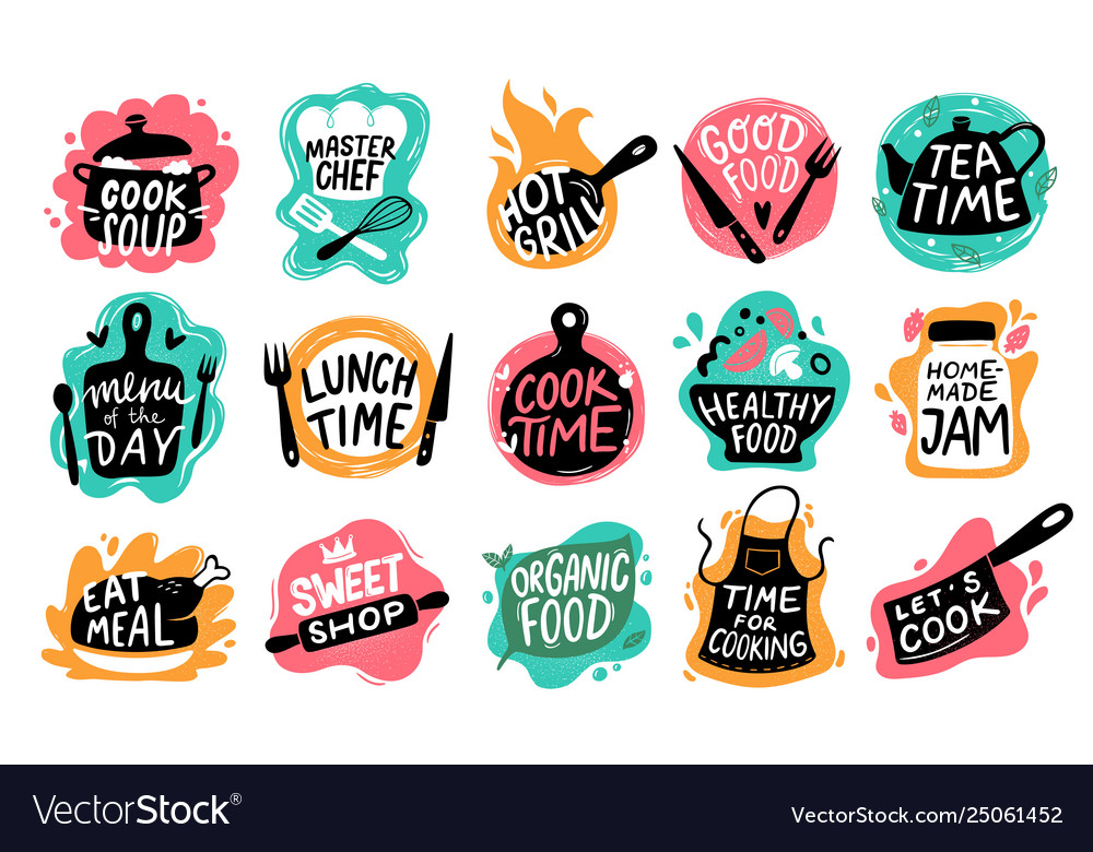 Cooking food lettering kitchen badge logos