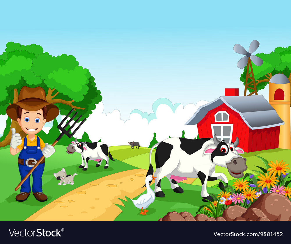 Farm background with farmer and animals vector image