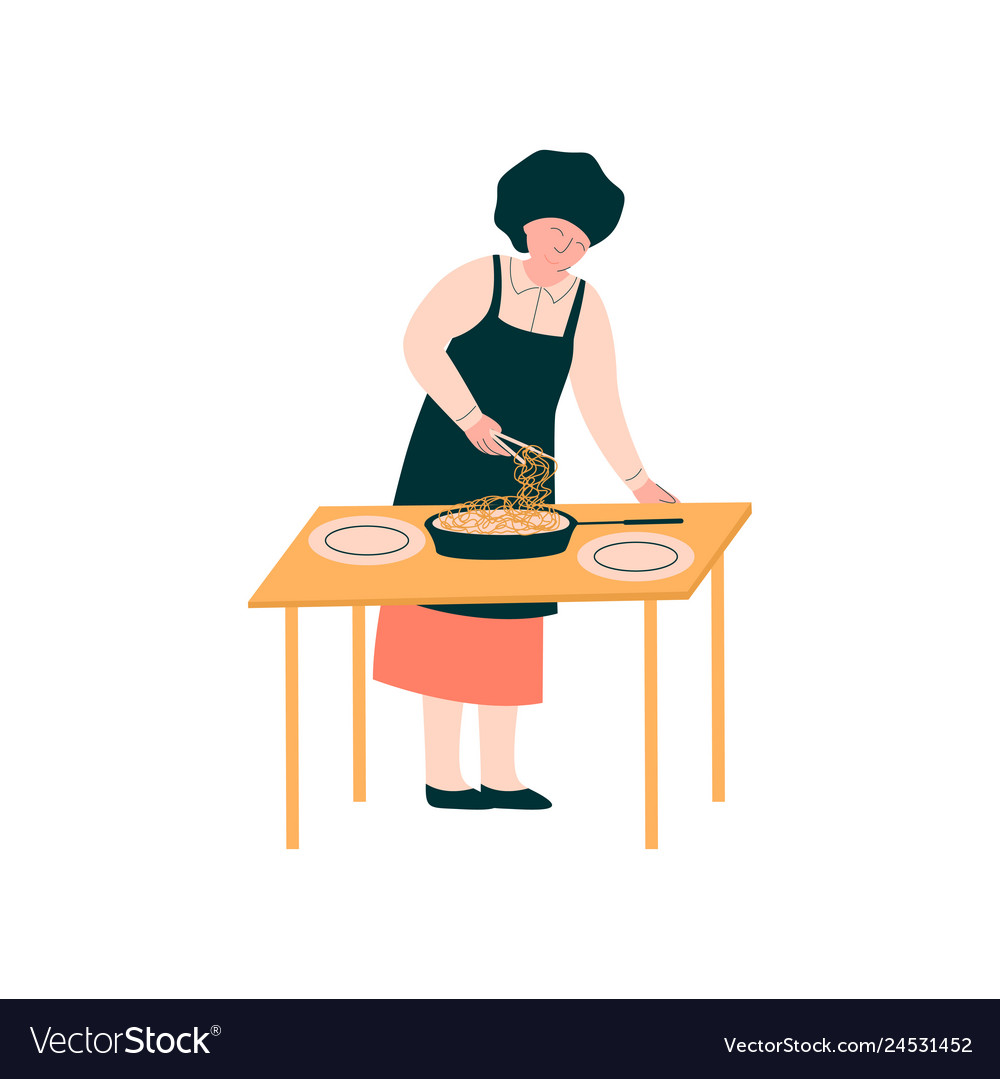 Female cook preparing and serving dish on table