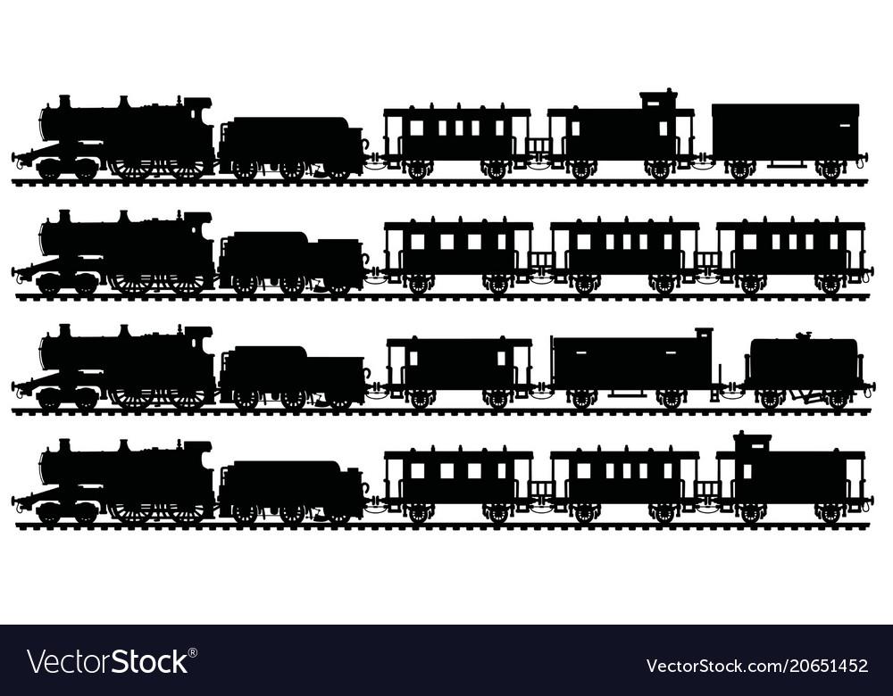 Four black silhouettes of vintage steam trains