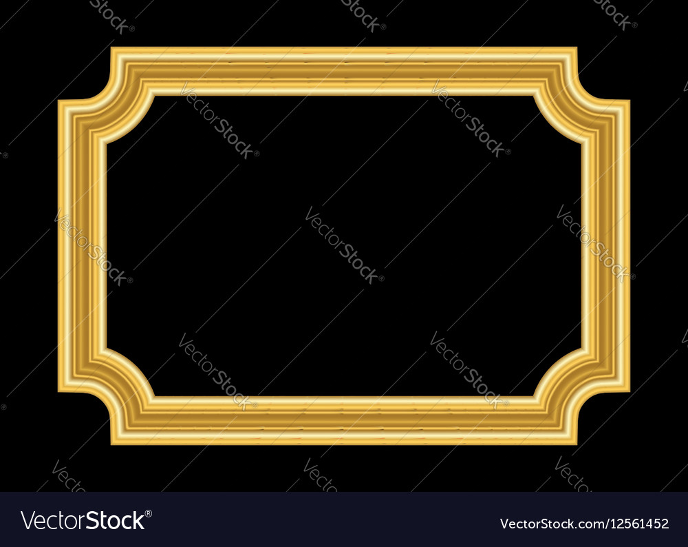 Gold Frame Beautiful Golden Black Royalty Free Vector Image