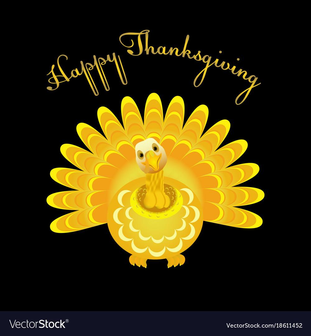 Gold turkey bird for happy thanksgiving