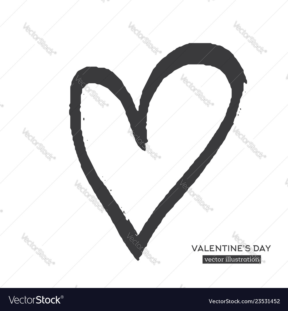 Hand drawn calligraphy heart isolated on white