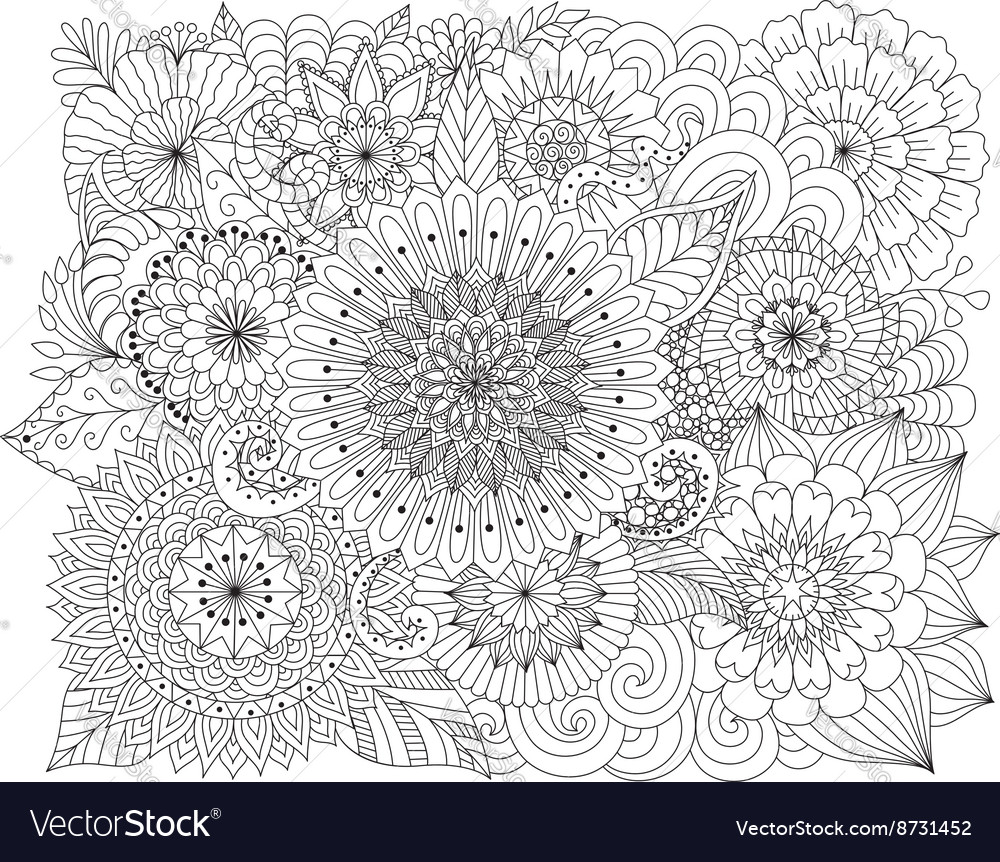 Hand drawn zentangle floral background for colorin