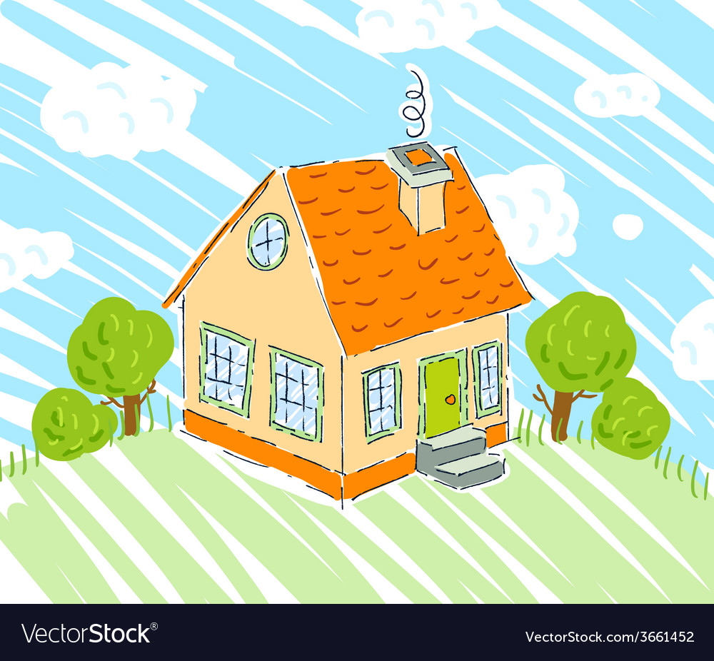 Kids drawing of new house on nature background