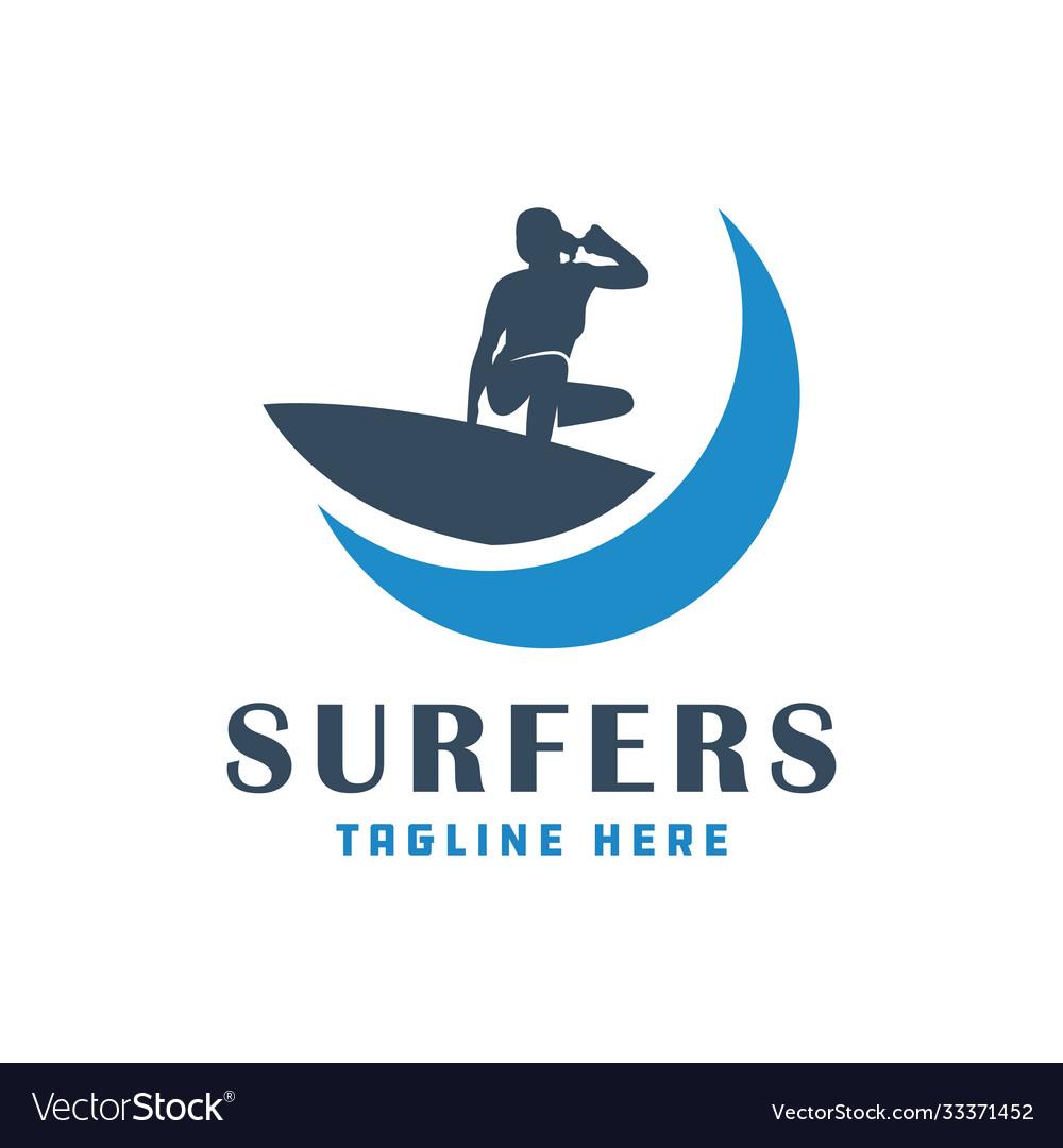 Modern surfing people logo