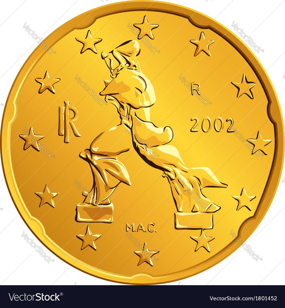 Obverse Italian money gold euro coin