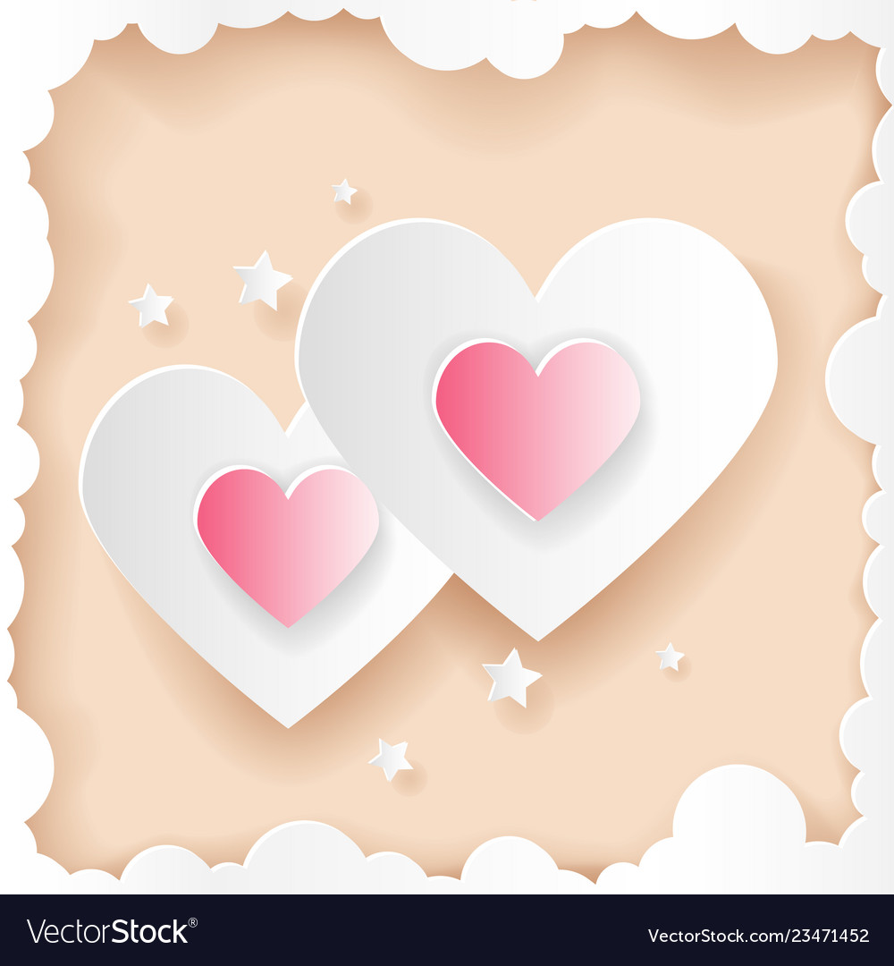 Paper cut art valentines day hearts greeting card