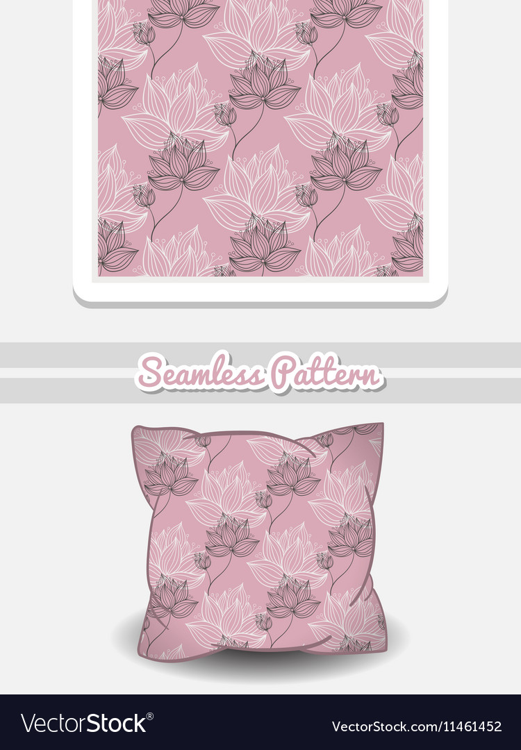 Pillow With Pink Floral Pattern Royalty Free Vector Image