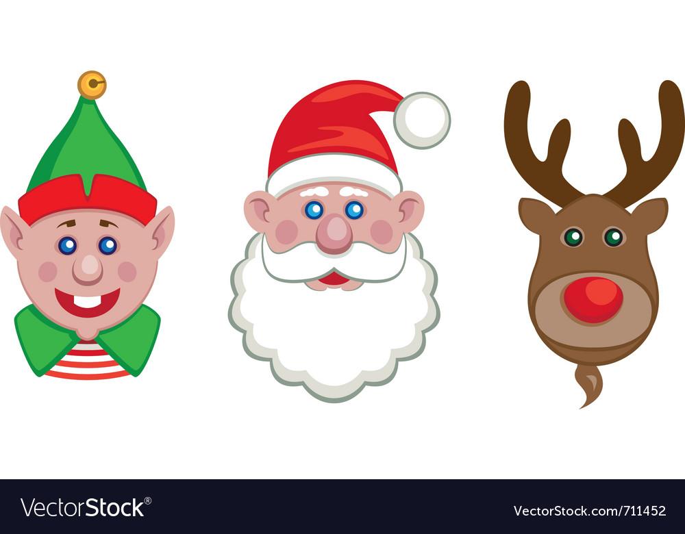 Portraits of santa elf and reindeer