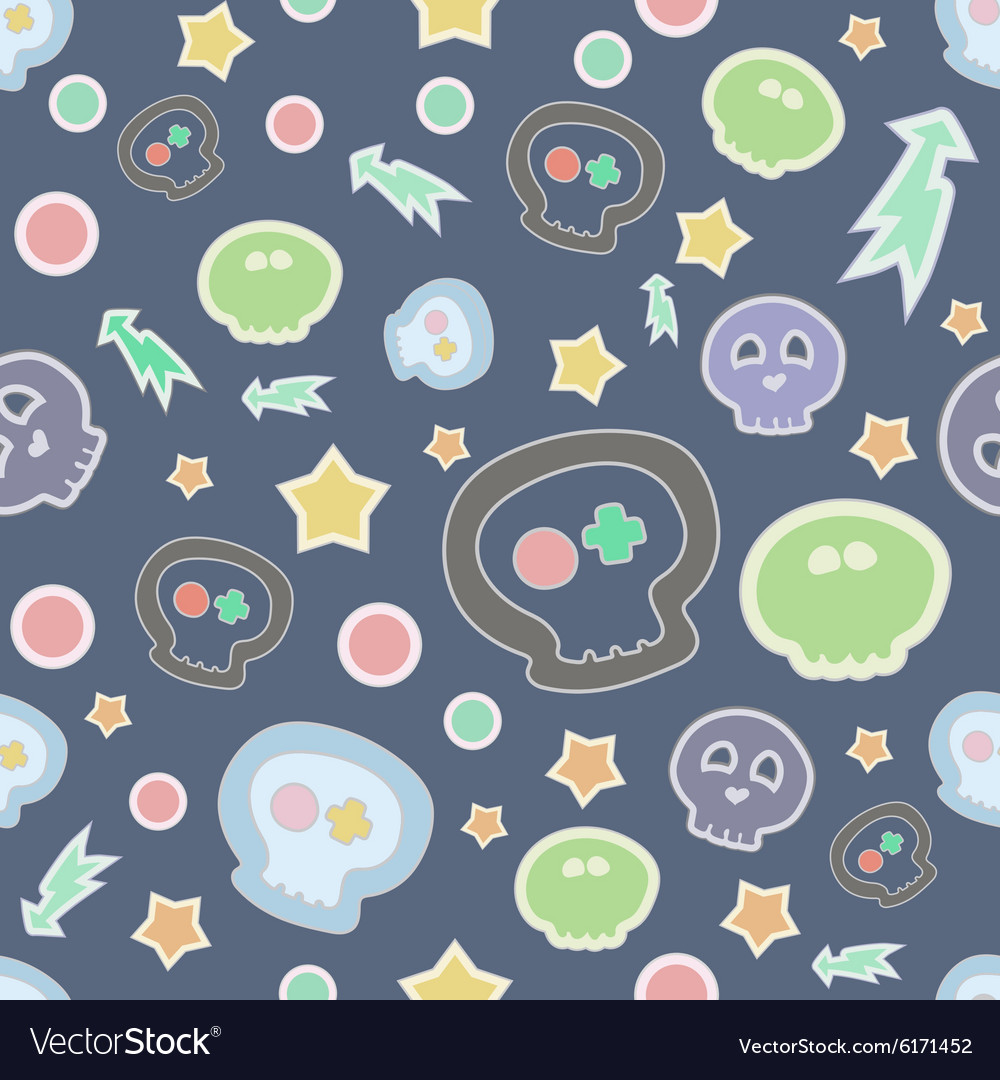 Seamless pattern with skulls and bones on vector image