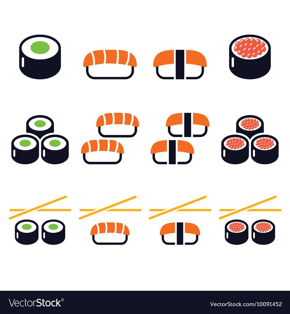Sushi - Japanese food icons set