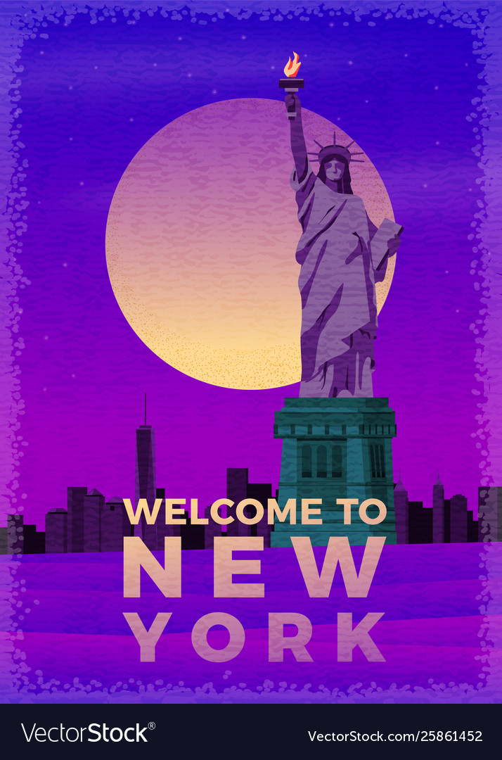 Vintage poster liberty statue with new york