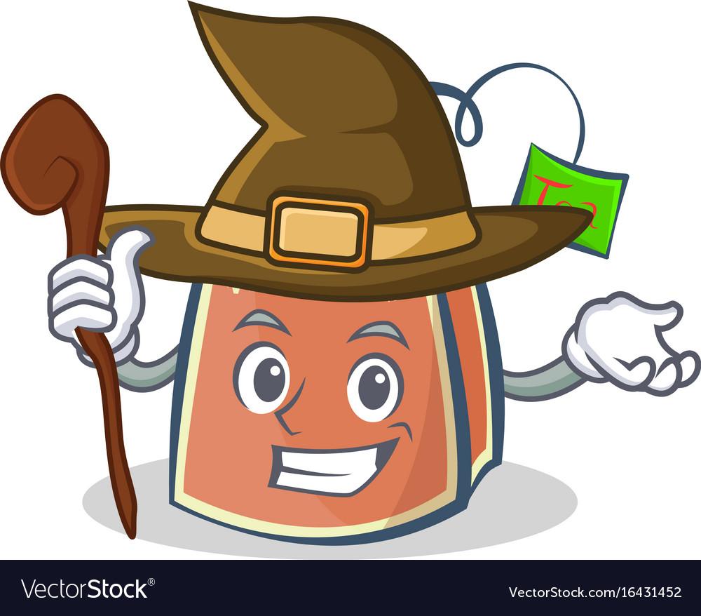 Witch tea bag character cartoon art