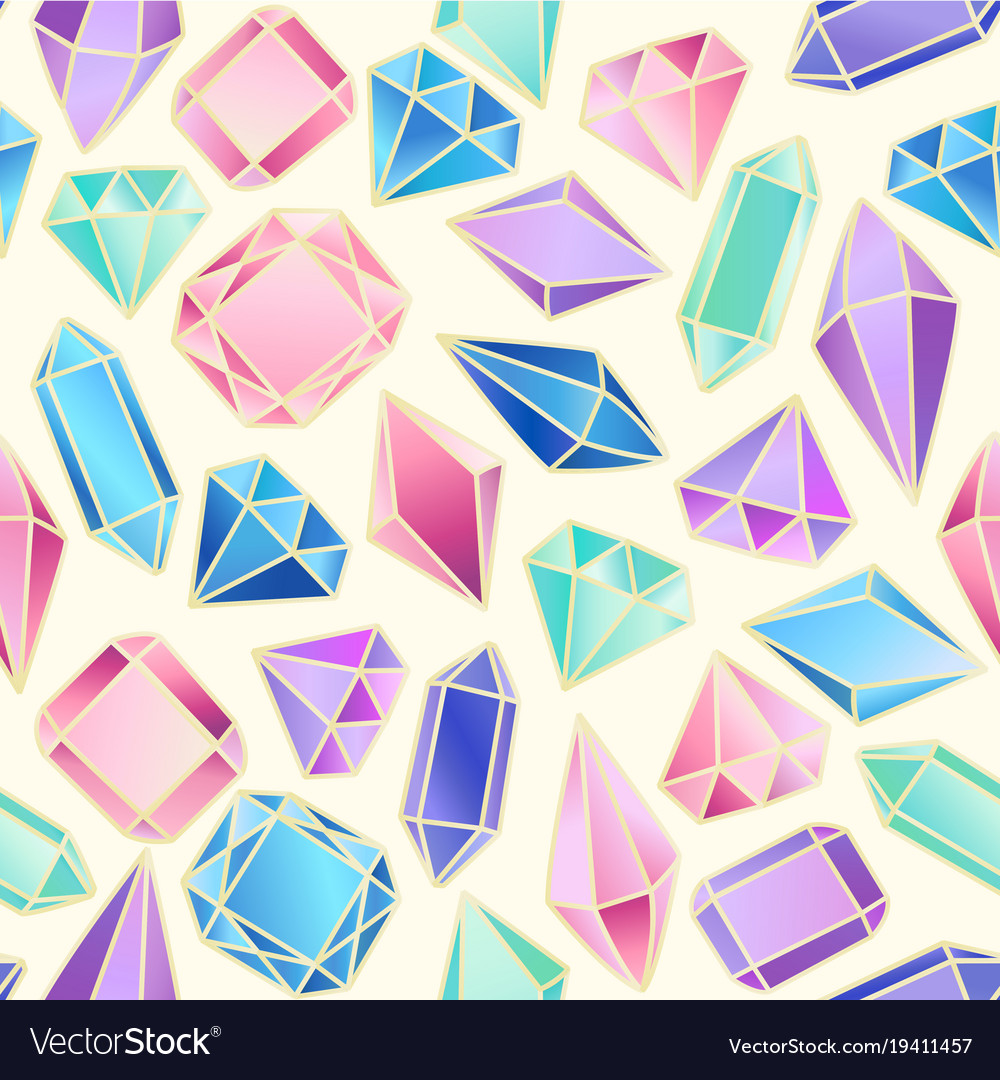 Abstract seamless pattern with crystals