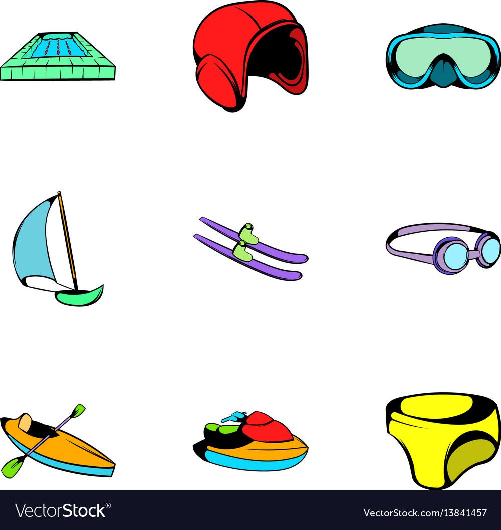 Aqua icons set cartoon style