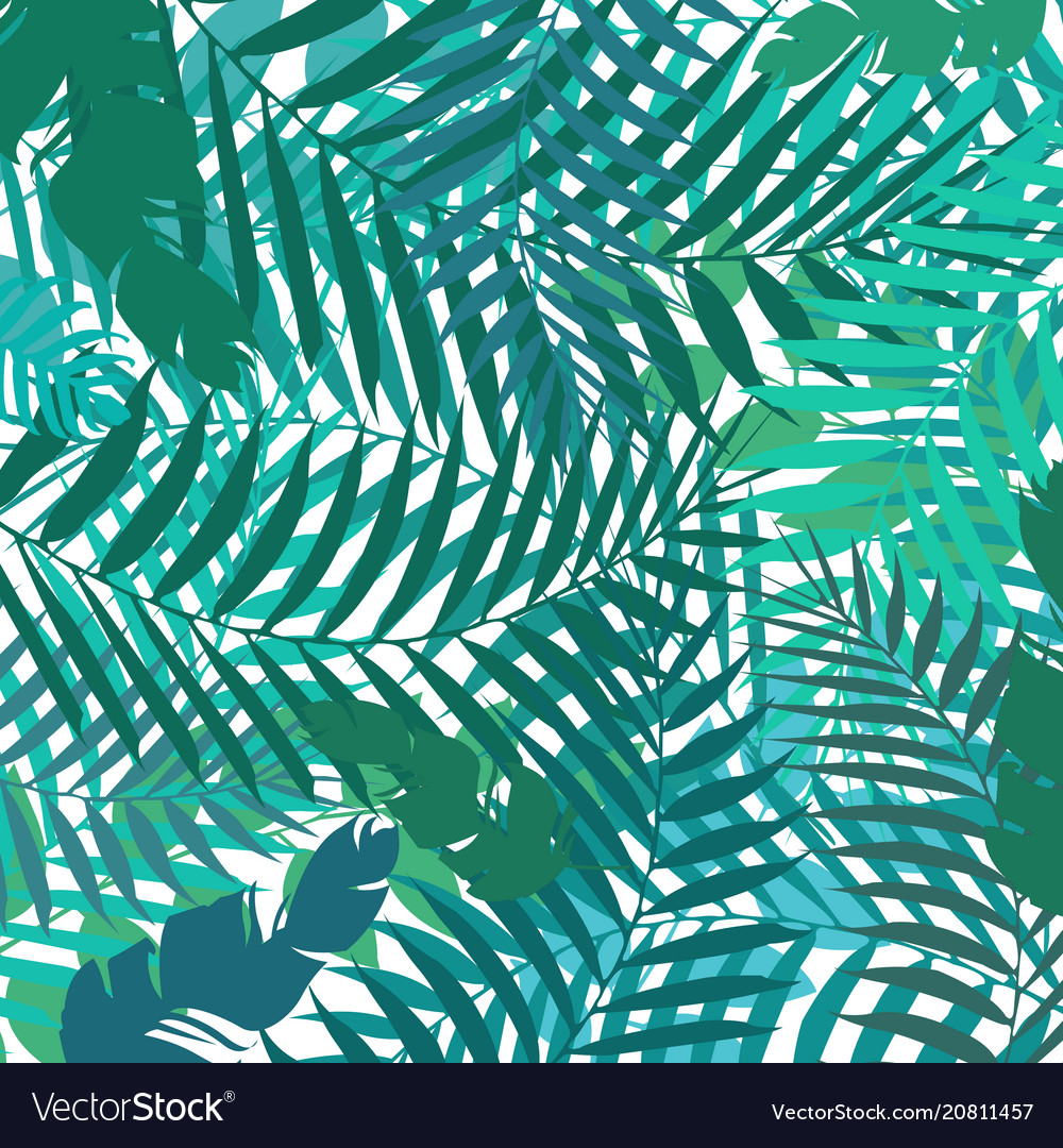 Hand drawing botanical exotic pattern with green