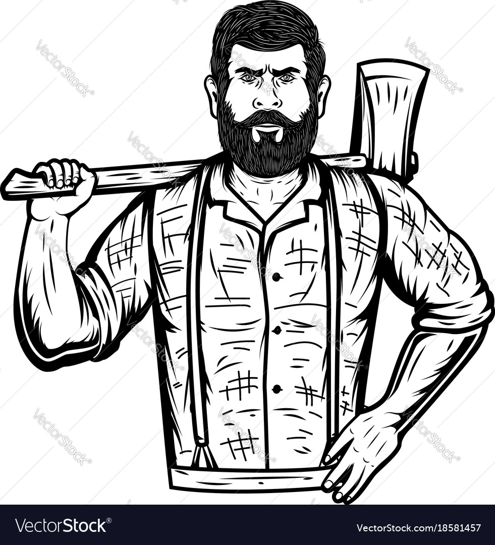 Lumberjack with axe on white background