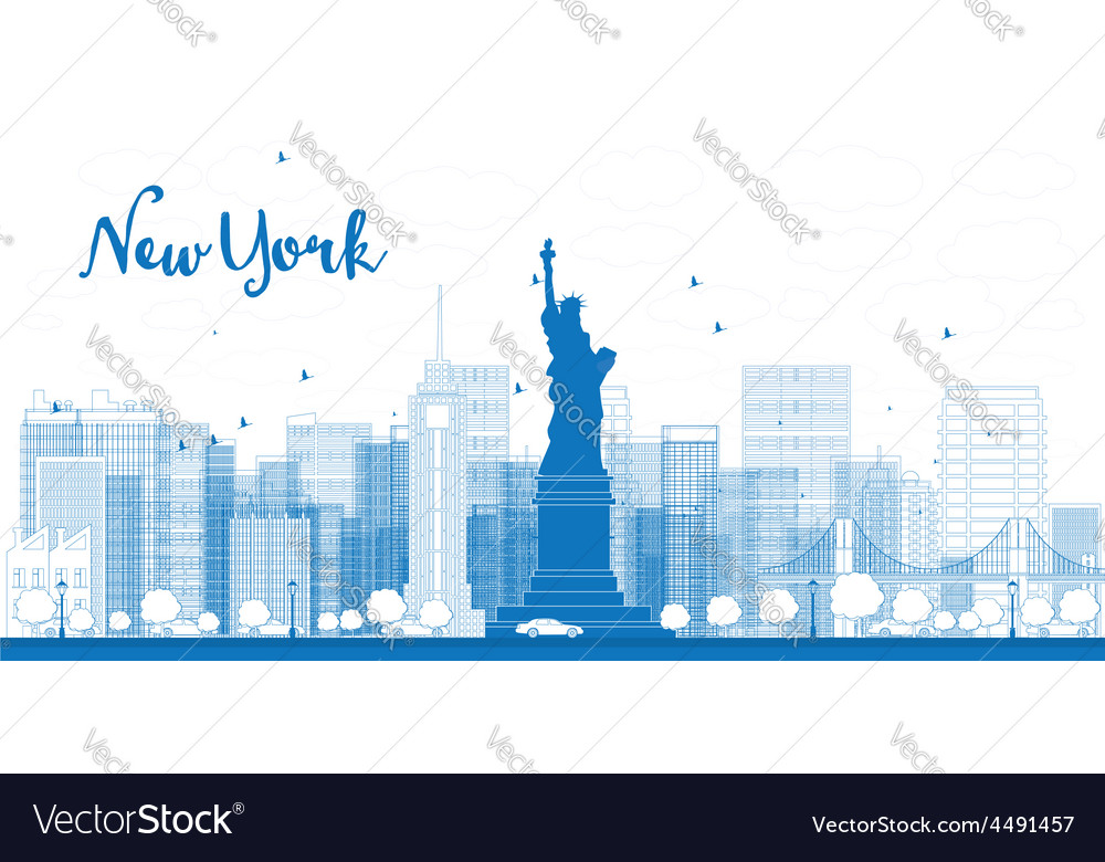 Outline New York city skyline with skyscrapers vector image