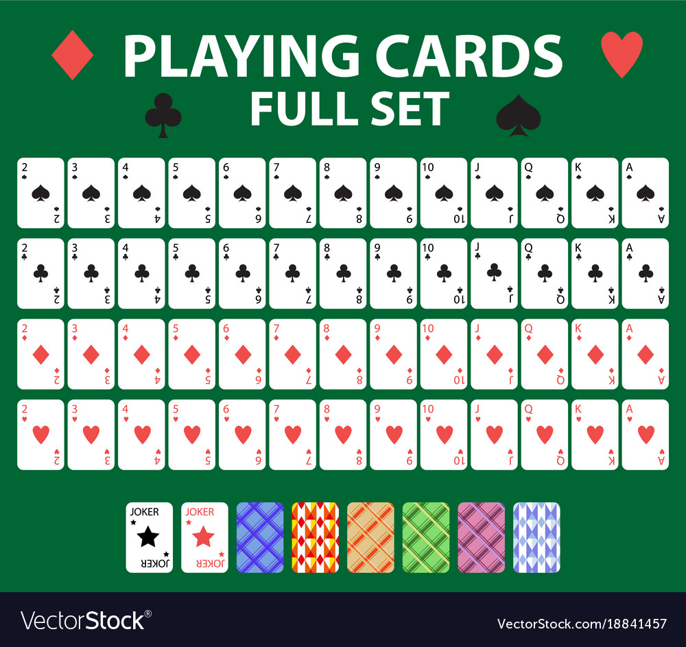 Playing cards full deck for poker black jack