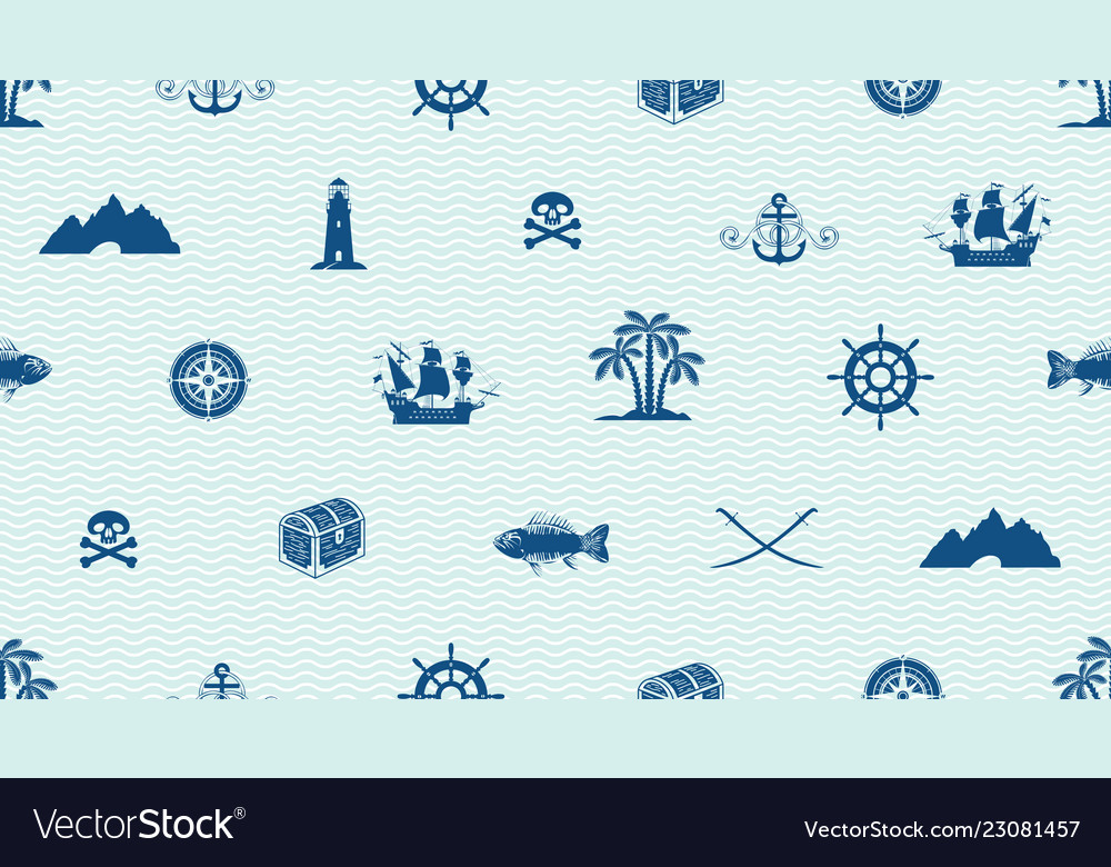 Seamless background on pirate and sea theme
