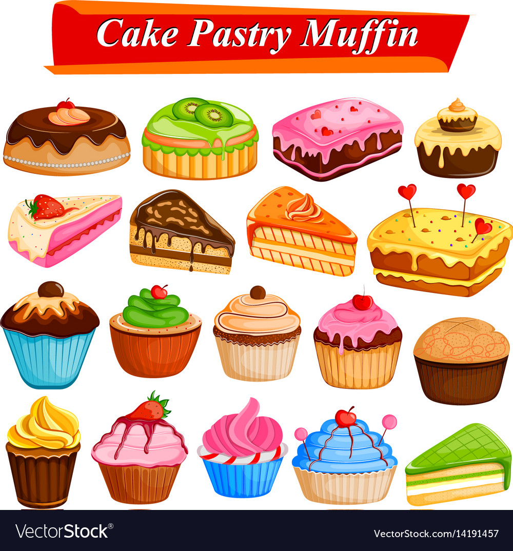 Set of yummy assorted cakes and pastry food