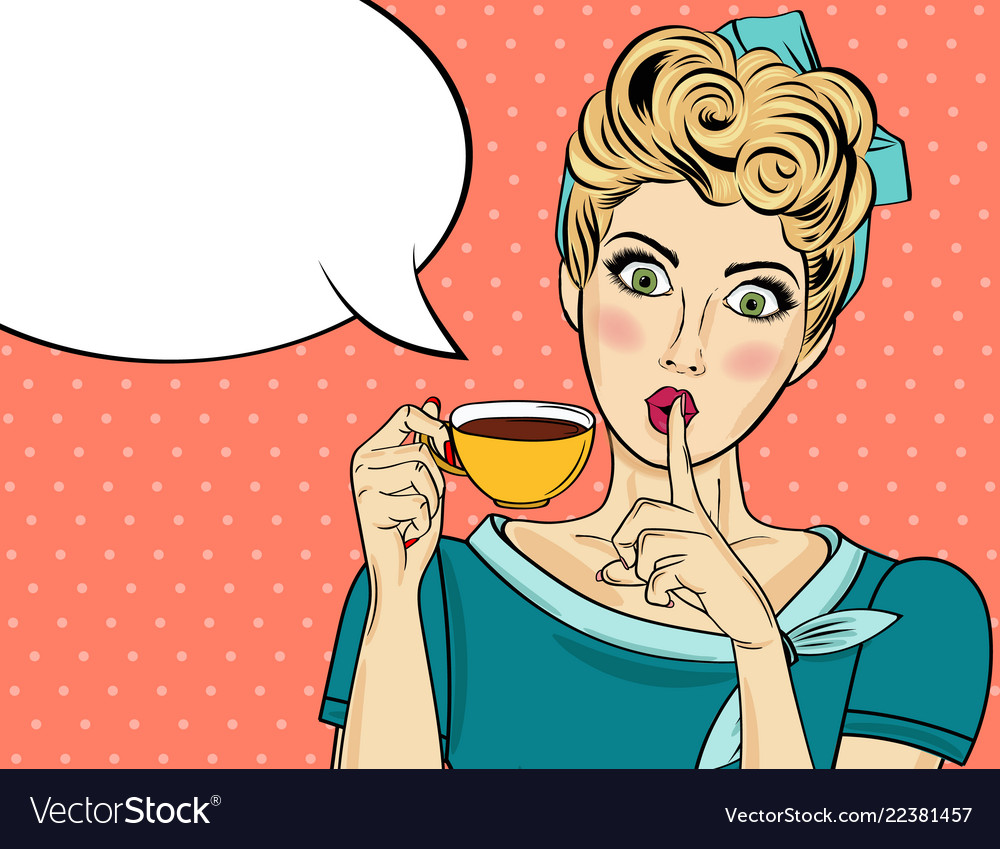 Sexy blonde pop art woman with coffee cup