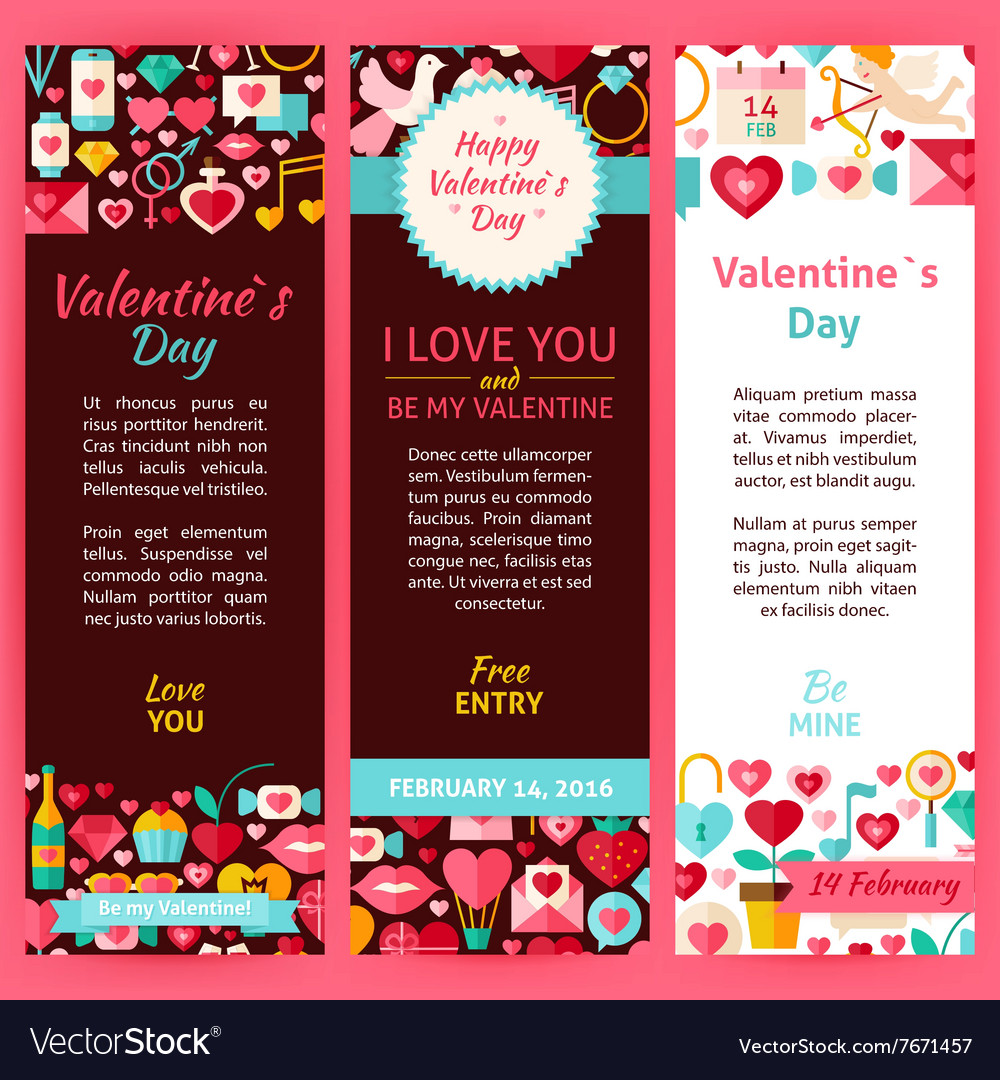 Valentine Day Party Invitation Template Flyer Set