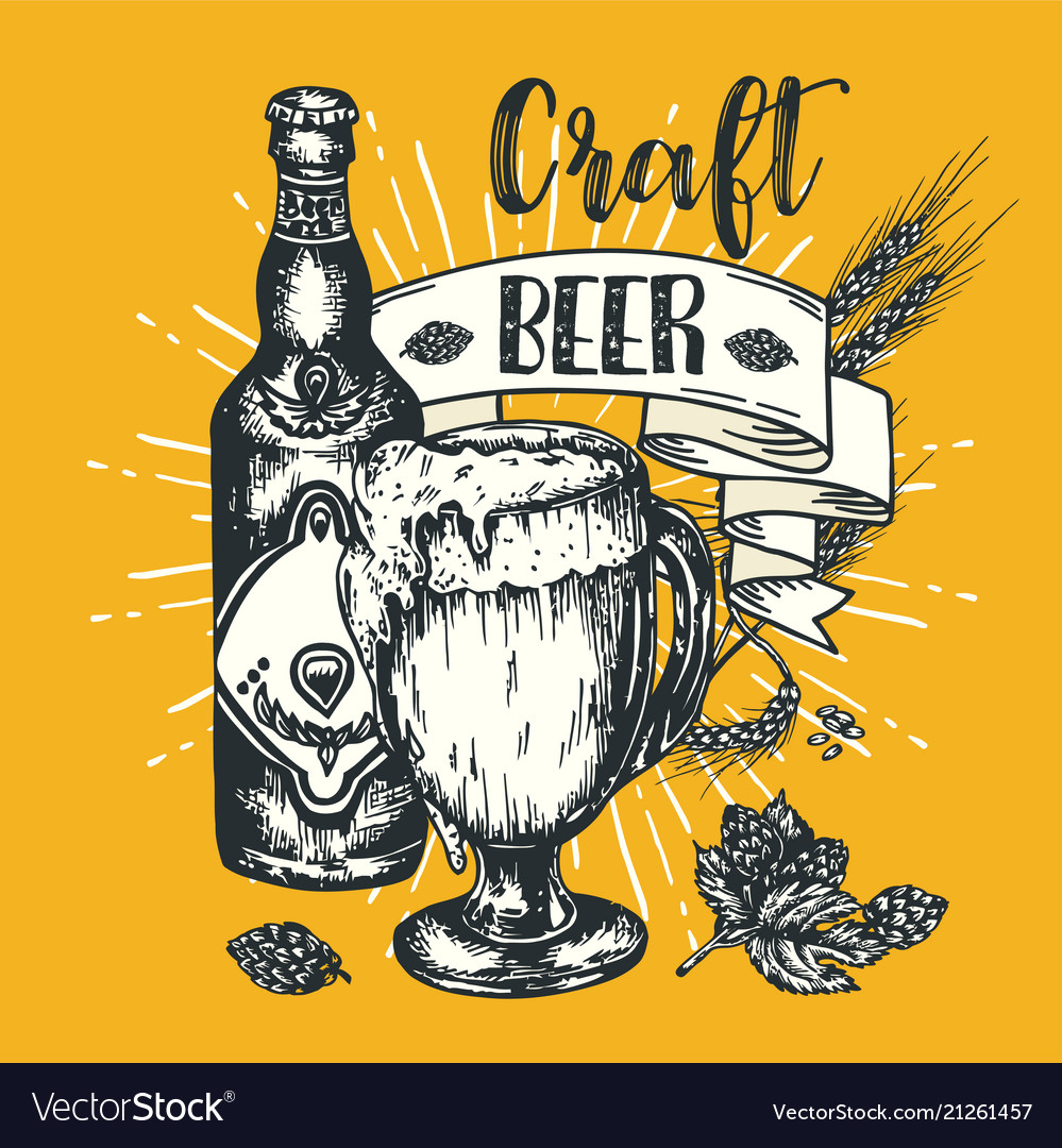 Vintage Craft Beer Poster Engraving Royalty Free Vector