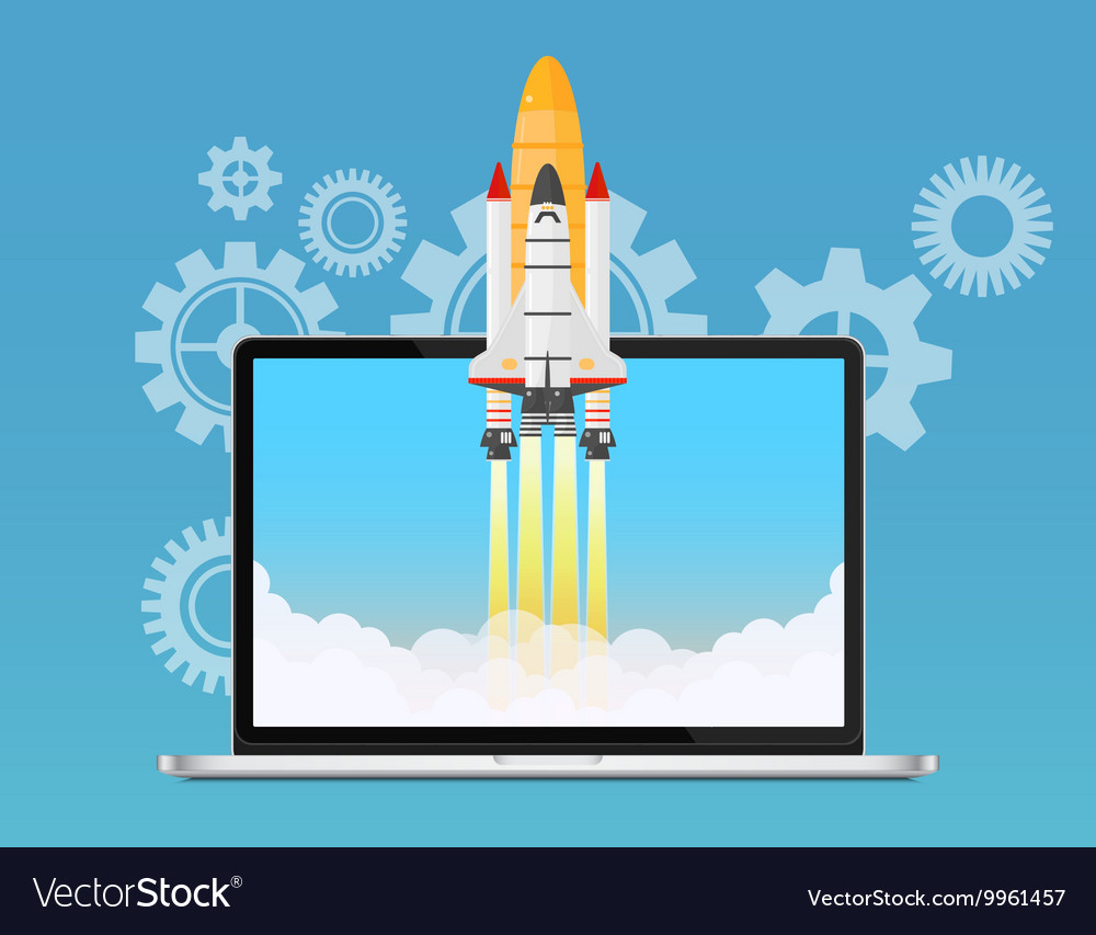 Web start up and development concept Space rocket