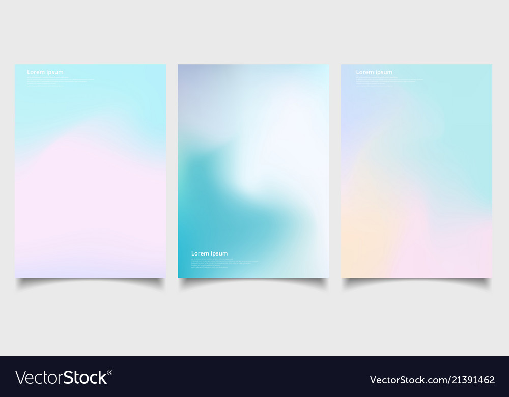 Abstract holographic poster set with gradient