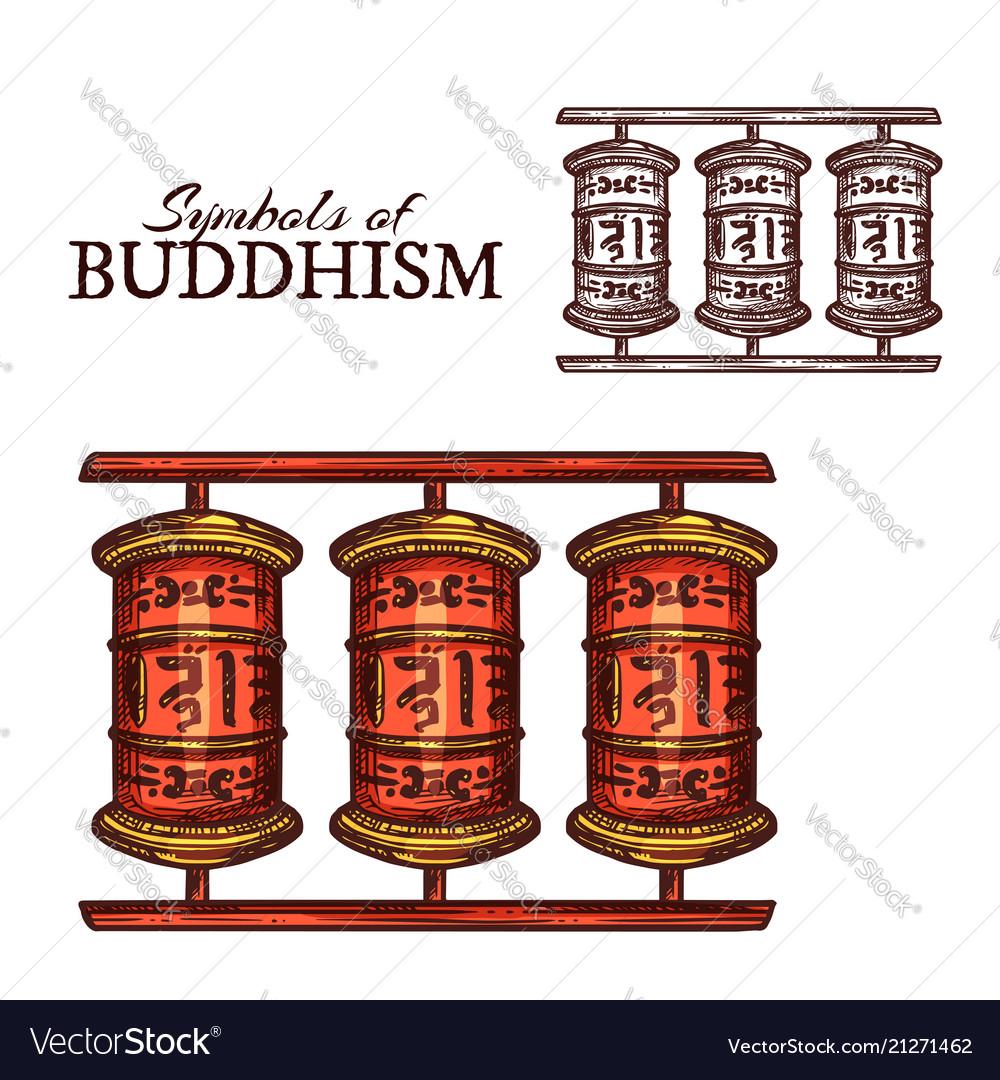 Buddhism Religion Symbol Of Buddhist Prayer Wheel Vector Image